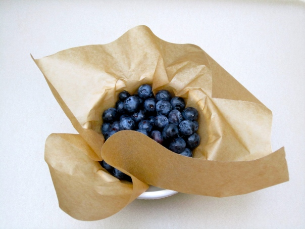 Blueberries in parchment paper