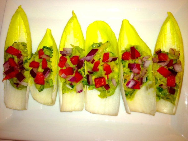 Tuna Guacamole in endive leaves