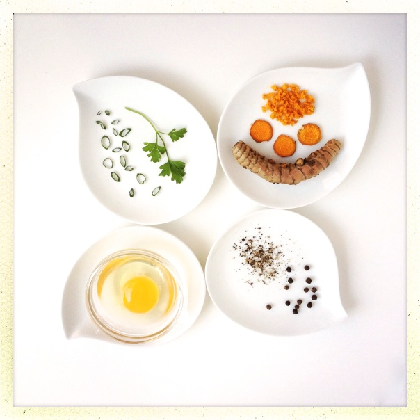 Ingredients for Scrambled Eggs with Turmeric and Black Pepper