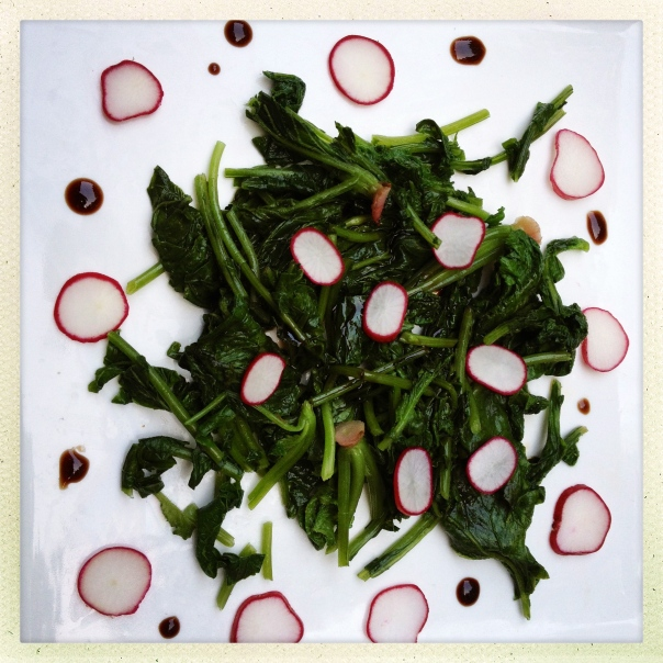 Radish and Radish Tops Salad with Balsamic Vinegar
